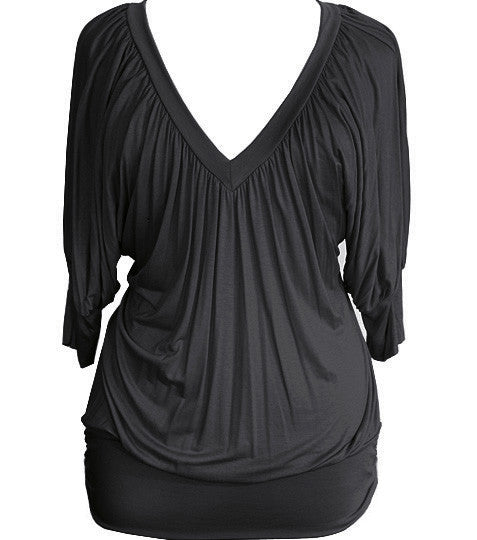 Plus Size Loose Sexy Half Sleeve Black Top