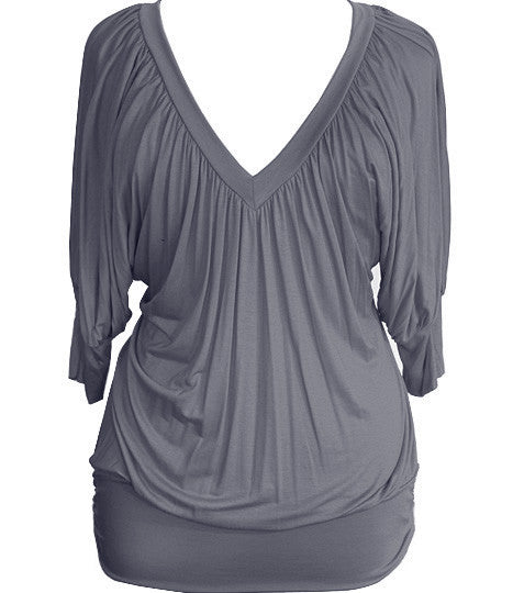 Plus Size Loose Sexy Half Sleeve Grey Top