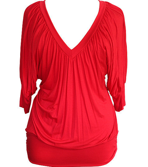 Plus Size Loose Sexy Half Sleeve Red Top