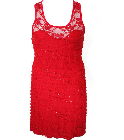 Plus Size Ruffle See Through Lace Red Dress