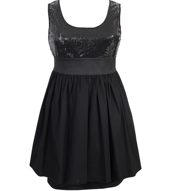 Plus Size Sparkling Dazzle Layered Black Dress