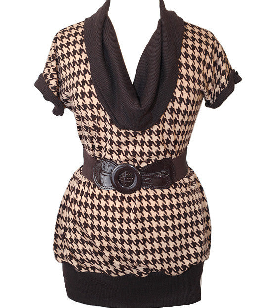 Plus Size Turtle Neck Houndstooth Brown Top
