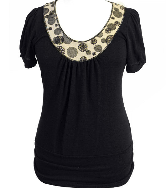 Fun Dazzled Collar Tan Top