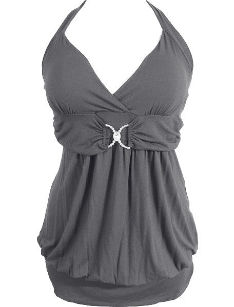 Plus Size Diamond Jewelry Long Grey Tank
