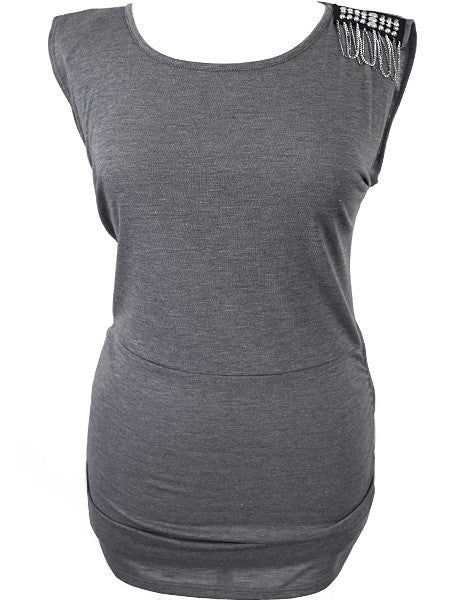 Plus Size Chained Shoulder Long Grey Top