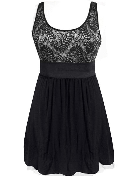 Lace Top Elegant Silver Dress