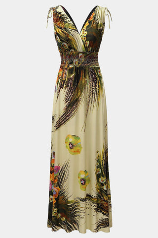 Plus Size Rose Mallows Tropical Peacock Print Maxi Dress