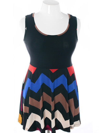 Plus Size Flirtatious Zig Zag Flowing Tank Blue Dress