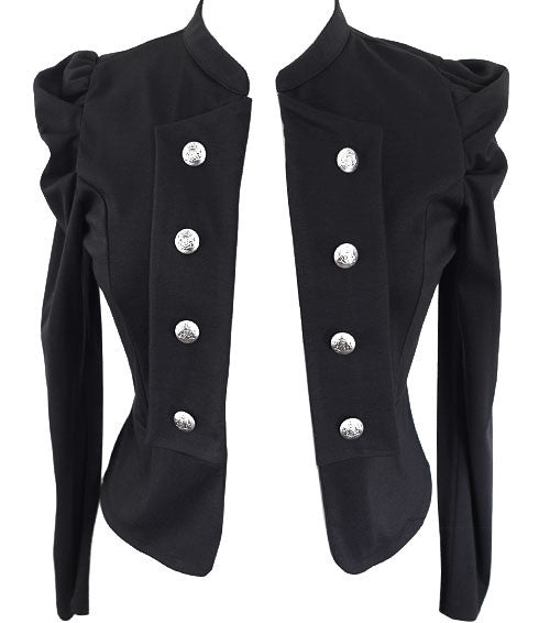Plus Size Poof Sleeve Commander Jacket