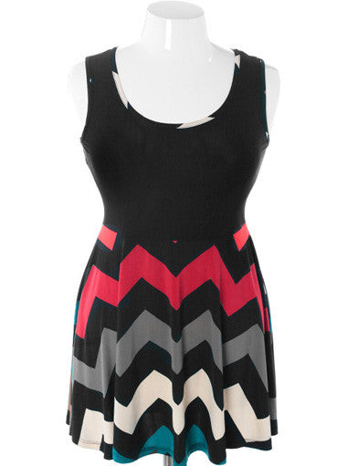 Plus Size Flirtatious Zig Zag Flowing Tank Teal Dress