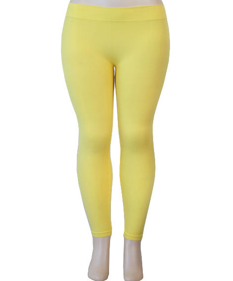 Plus Size Nylon Yellow Leggings