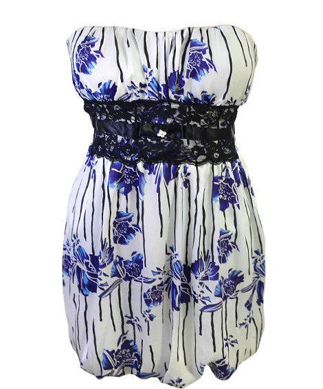 Plus Size Sexy Floral Blue Tube Dress