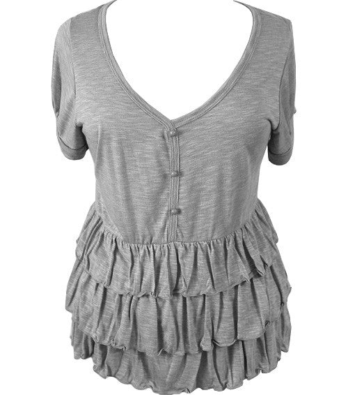 Plus Size Light Ruffled Grey Top