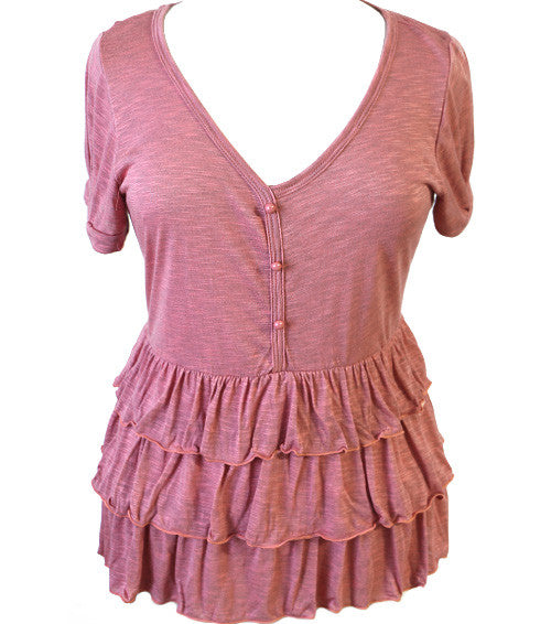 Plus Size Light Ruffled Pink Top