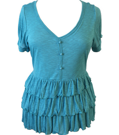 Plus Size Light Ruffled Teal Top