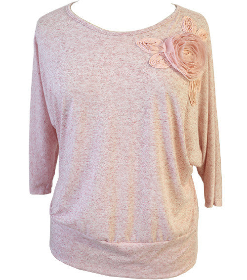 Plus Size Trendy Loose Flower Pink Top