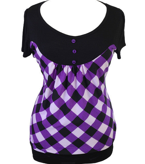 Plus Size Sexy Checker Purple Top
