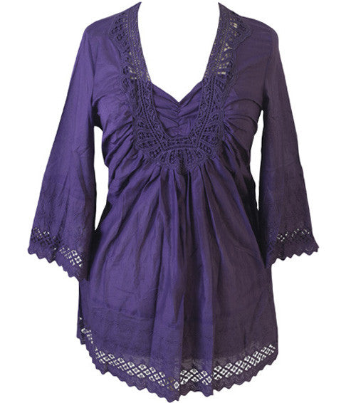 Plus Size Cotton Gorgeous Purple Blouse