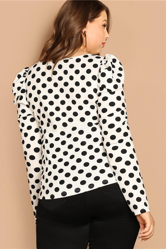 Plus Size Polka Dot Long Sleeve Top