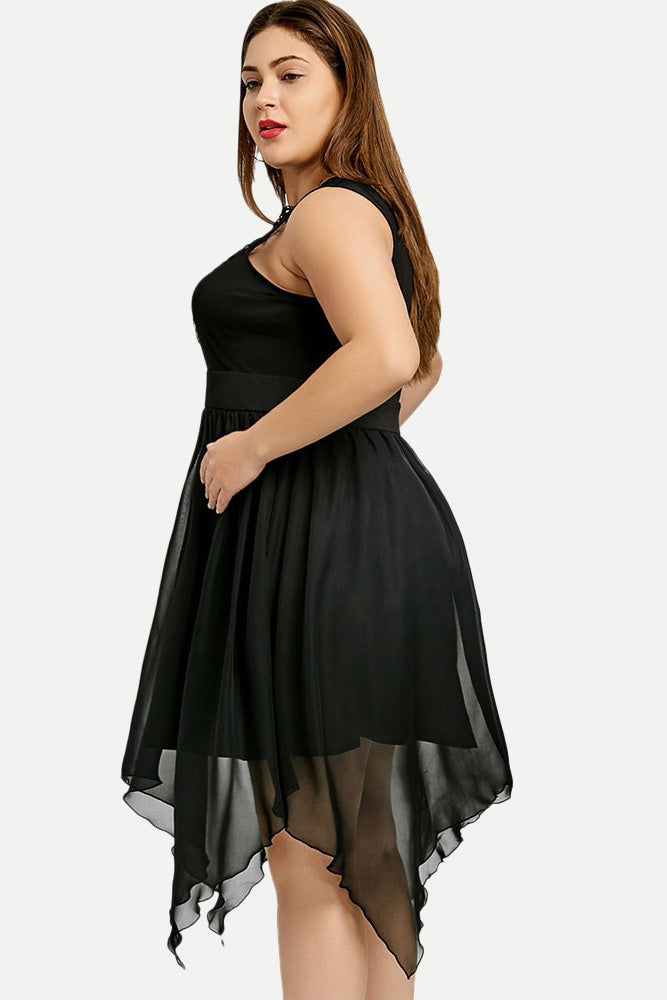 Plus Size Sleeveless Lace Hollow Out Chiffon Dress