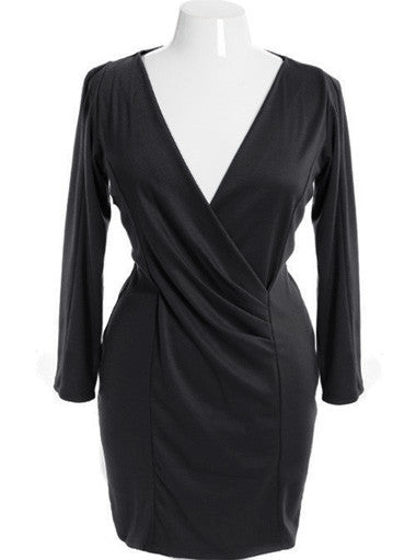 Plus Size Sexy Slimming Pleat Zip Up Black Dress