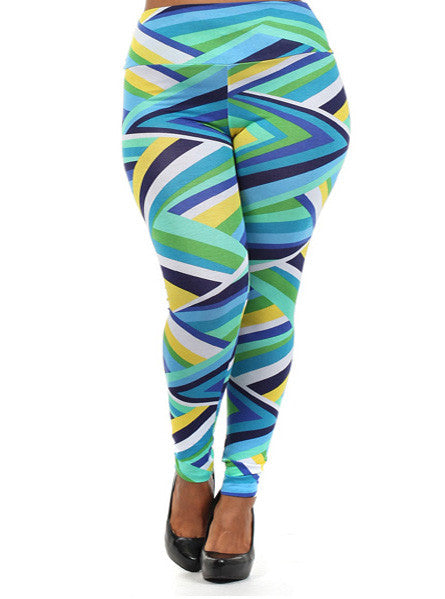 Plus Size Sexy Stripe Blue Leggings