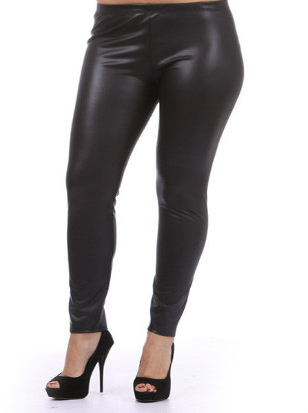 Plus Size Sexy Shiny Black Leggings