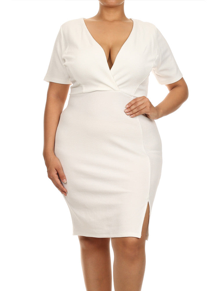 Plus Size Mod Pleats Surplice White Dress