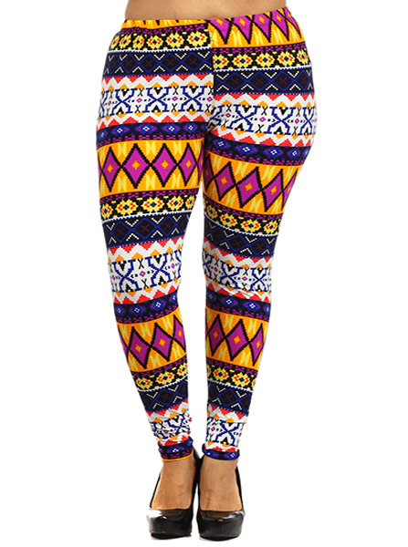 Plus Size Hued Aztec Print Leggings
