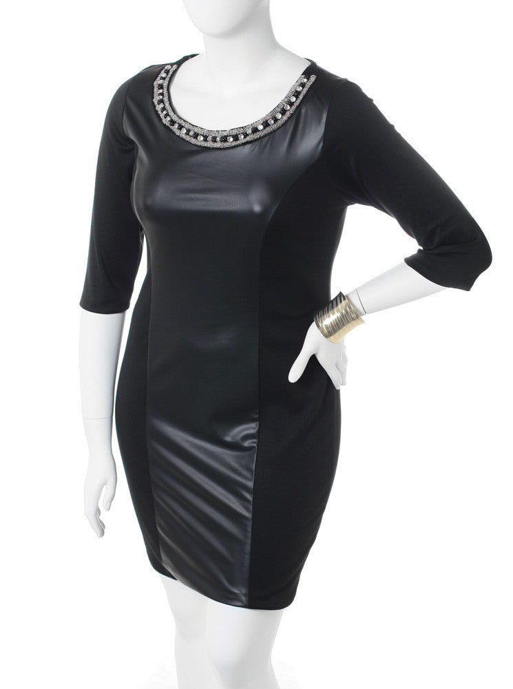 Plus Size Beaded Collar Leather Dress