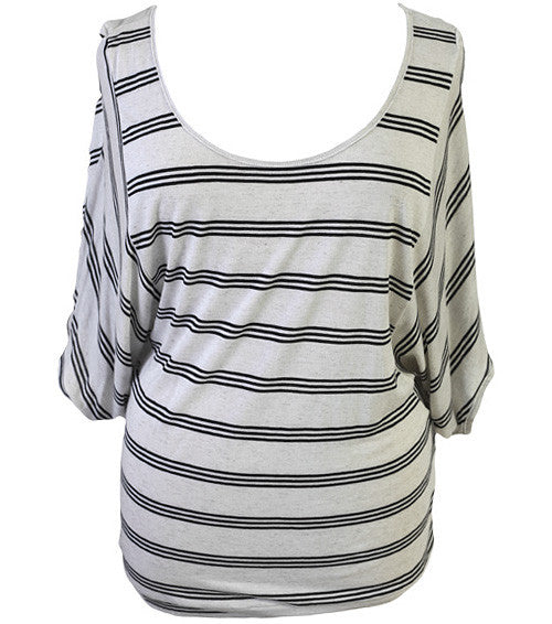Plus Size Loose Baseball Stripe Top