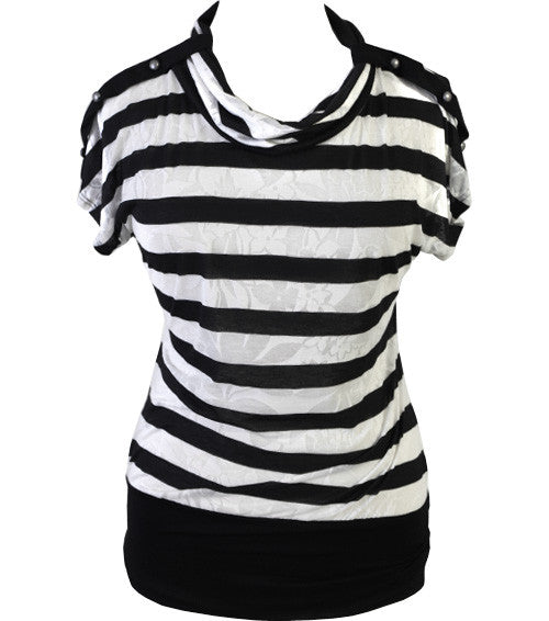 Plus Size Stripe Cowl Neck Black Top