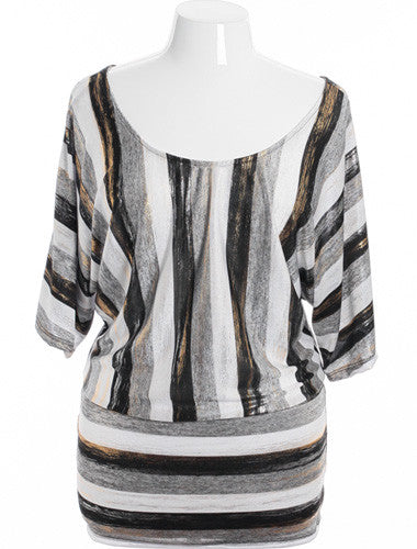 Plus Size Sexy Shinning Striped Silver Top
