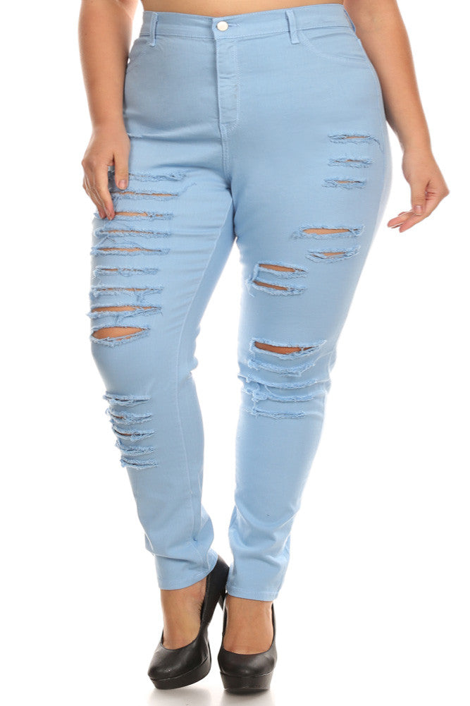 Plus Size Pastel High Waist Ripped Denim Jeans
