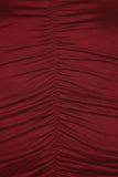 Plus Size Dashing Ruched Dip Hem Burgundy Midi Dress