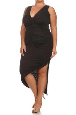 Plus Size Dashing Ruched Dip Hem Black Midi Dress [SALE]
