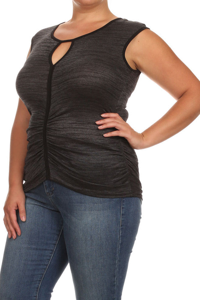 Plus Size Sexy Ruched Trim Grey Top