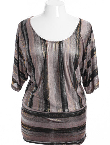 Plus Size Sexy Shinning Striped Gold Top
