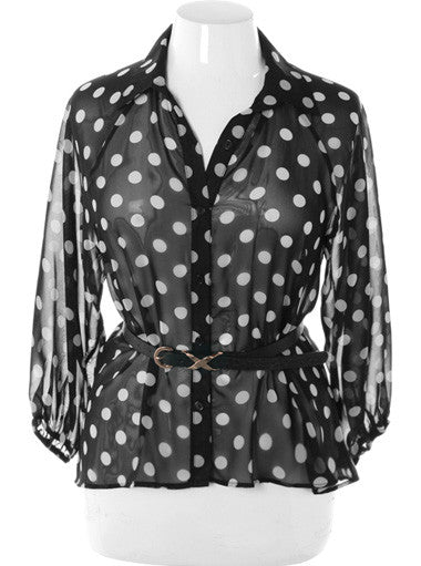 Plus Size Belted Polka Dot See Through Black Button Up