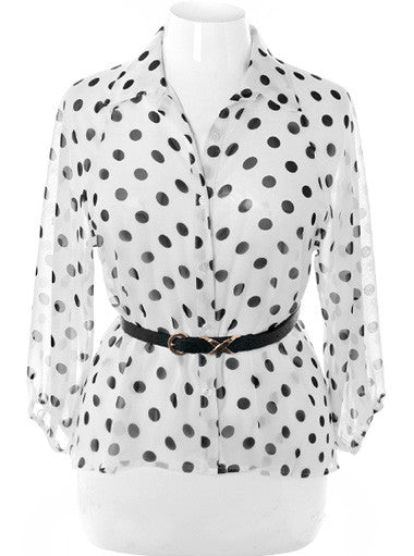 Plus Size Belted Polka Dot  See Through White Button Up
