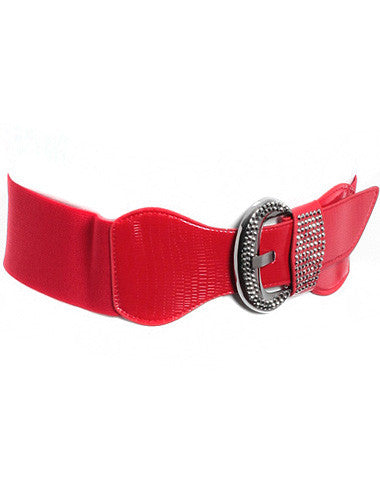 Plus Size Silver Stud Buckle Stretch Red Belt