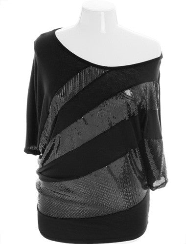 Plus Size Sparkling Wide Collar Sexy Black Top