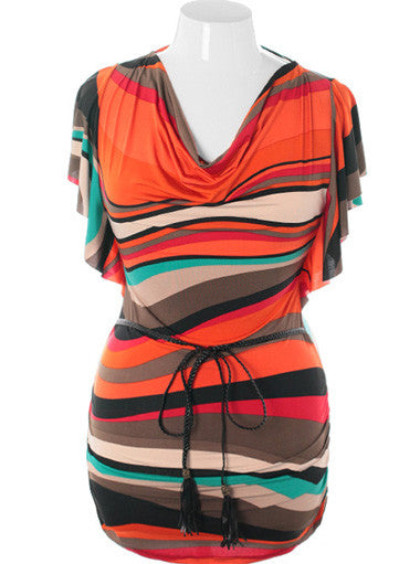 Plus Size Abstract Colorful Belted Orange Mini Dress