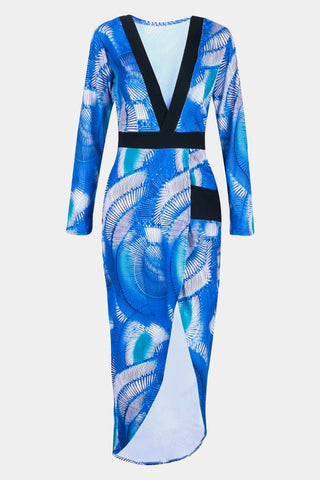 Plus Size Deep V Neck Abstract Long Sleeve Surplice Maxi Dress