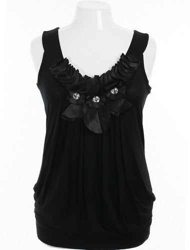 Plus Size Layered Bubble Diamond Ruffled Black Tank