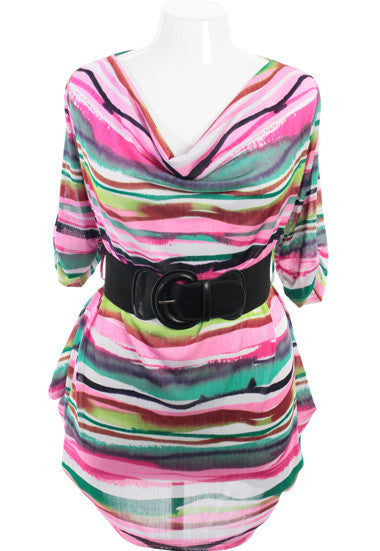 Plus Size Stripe Tunic Belt Colorful Dress