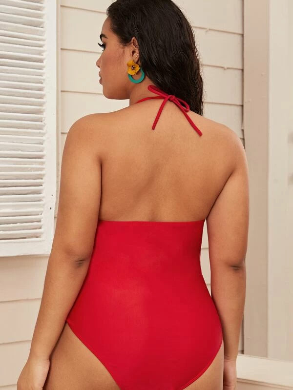 Plus Size Pom-pom Trim Halter One Piece Swimwear