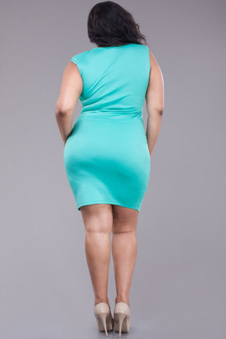 V Neckline Sleeveless Bodycon Plus Size Dress