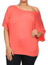 Plus Size Essential Off The Shoulder Coral Top