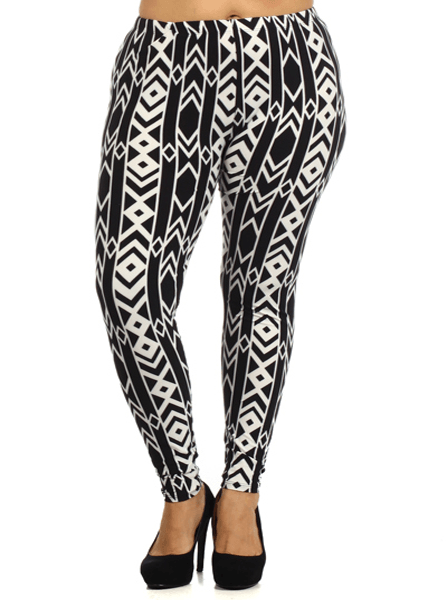 Plus Size Black And White Chevron Print Leggings
